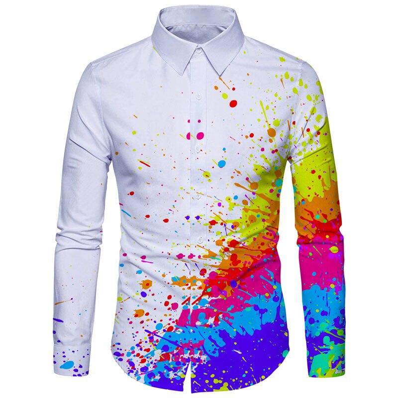 Cloudstyle Men Dress Shirts Men Clothes Dying Painting 3D Print Splatter Many Colors Shirt Cotton Long Sleeve Fashion Tops