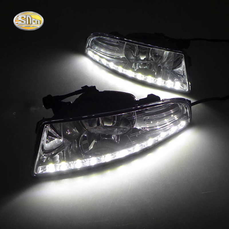 SNCN LED Daytime Running Lights for Skoda Octavia A5 2010 2011 2012 2013 Fog lamp house 12V ABS DRL hot sale abs chromed front behind fog lamp cover 2pcs set car accessories for volkswagen vw tiguan 2010 2011 2012 2013