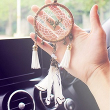 Dream Catcher Car Pendant Necklace Auto Decoration Handicrafts Led Decor Feather Cotton Accessories