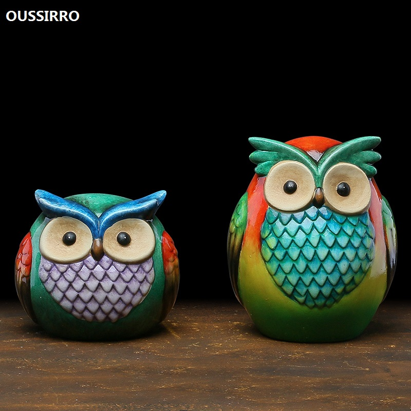 OUSSIRRO Painted Owls Ceramics Home Furnishings Decorations Room Living Room TV Stand Cabinets Display Props