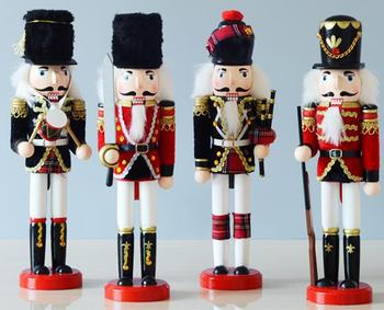 4PC SET New style nutcracker solid wood packaging cloth creative household unique crafts display special wholesale statues Home