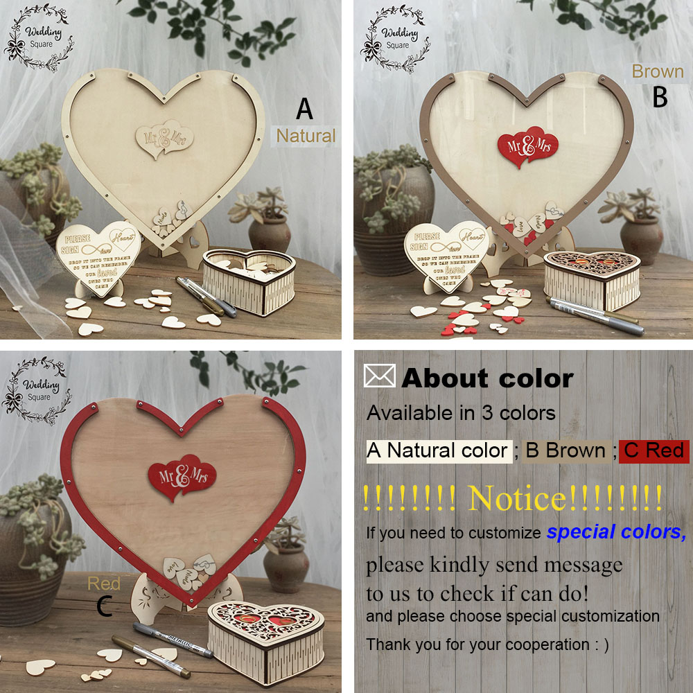 Hearts Unique Wedding Decoration Rustic Sweet Wedding Guest book Wedding Wishes Bank Hearts drop box 3D Guest book wooden box in Signature Guest Books from Home Garden
