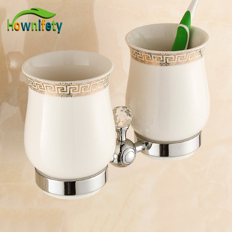 Solid Brass Bathroom Toothbrush Holder Double Ceramic Cups with Crystal Holder heavy bullet head bobbin holder with ceramic tube tip protecting lines brass copper material