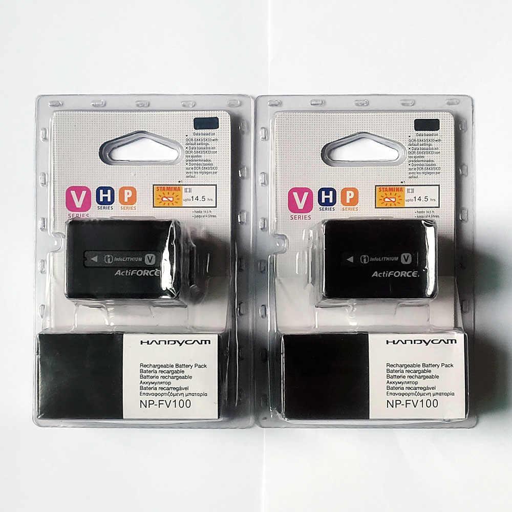 2 Pcs/lot 3700 MAh NP-FV100 NP FV100 NPFV100 Baterai untuk Sony FDR-AX100E AX100E HDR XR550E XR350E CX550E CX350E