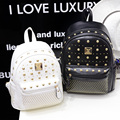 2016 Women Backpacks Designer Brand Leather Fashion Rivets Bags for High School Girls High quality preppy lady bags black golden