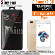 Sinzean 100pcs For Xiaomi 5X Tempered Glass screen protector (0.3mm/2.5D/9H Clear)