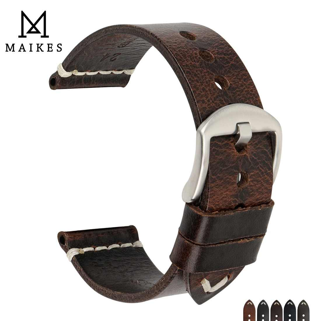 MAIKES Genuine Leather Watchband 20mm 22mm 24mm Watch Accessories Watch Straps Vintage Bracelet Watch Band For CITIZEN Watch