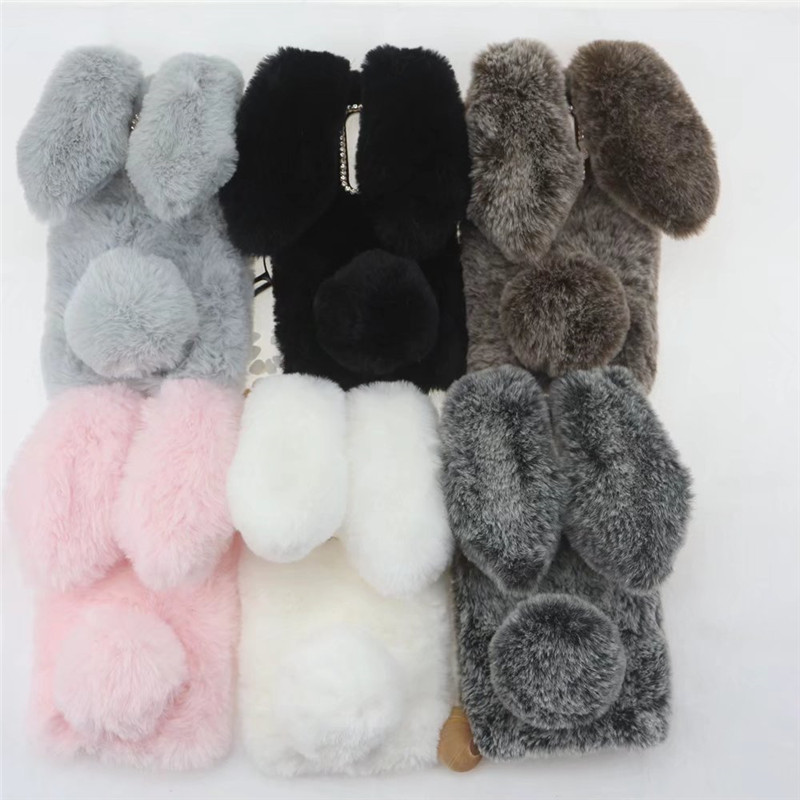 Plush Bunny Case for <font><b>Oneplus</b></font> 7 Pro 5 5T <font><b>6</b></font> 1+<font><b>6</b></font> Soft Fur Cute <font><b>3D</b></font> Rabbit Ears TPU Bling Diamond Phone Cover for One Plus 6T Fluffy image