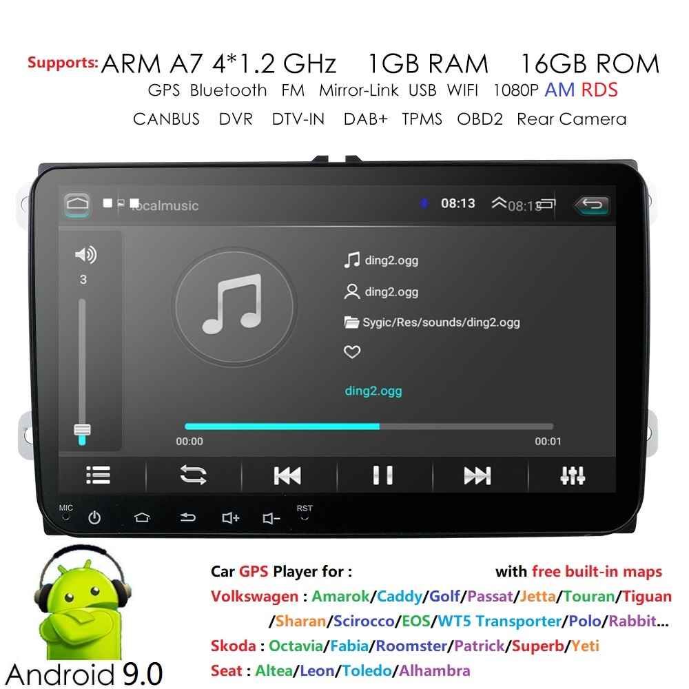 Car Multimedia player 2 Din Car Navi For V W/Volkswagen/Golf/Polo/Tiguan/Passat/b7/b6/SEAT/leon/S koda/Octavia Radio GPS DAB+ BT