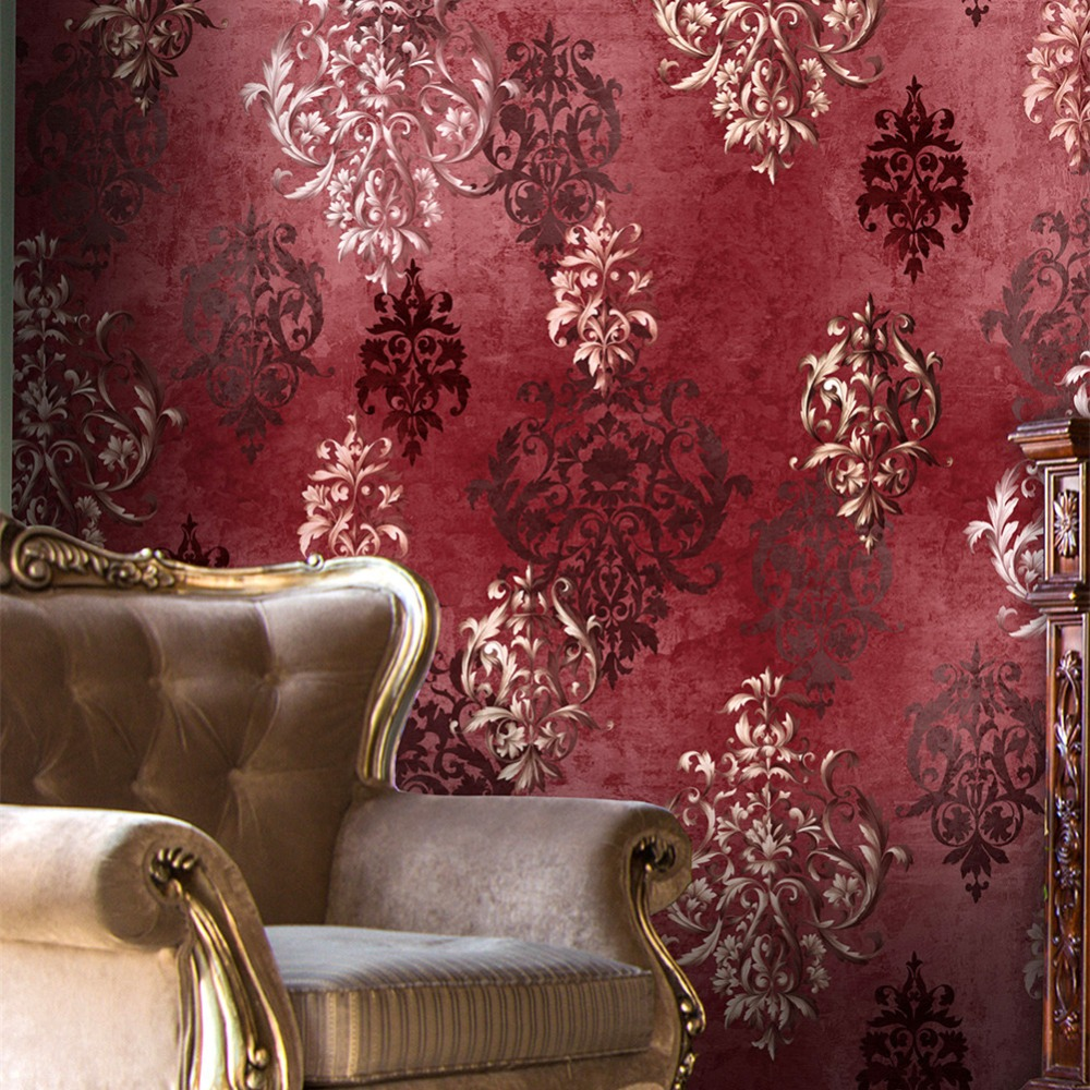 HaokHome Vintage Distressed Damask 3d Wallpaper Vinyl Crimson Red/Silver Retro Textured For Living room Home Wall Decoration haokhome european floral damask 3d wallpaper rolls brown champagne black white textured living room bedroom home art decoration