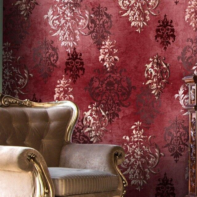 haokhome vintage distressed damask 3d wallpaper vinyl crimson red
