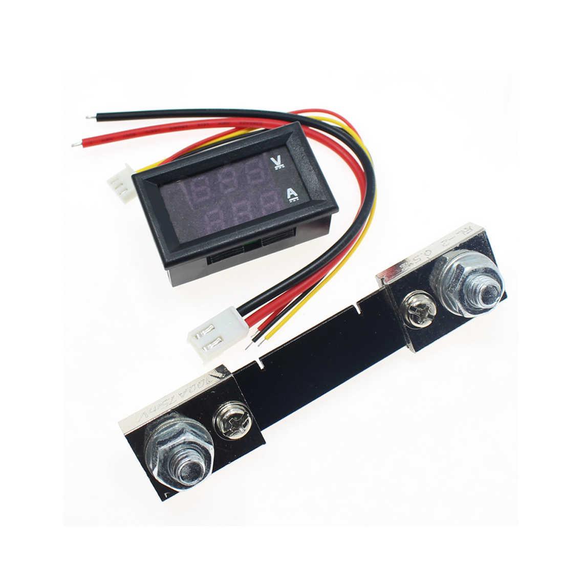 new 0 100v 50a red blue digital voltmeter ammeter 2in1 dc volt amp meter [ 1100 x 1100 Pixel ]