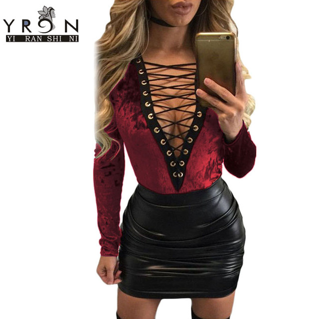 Yi Ran Hot Sexy Bodycon Velvet Bodysuit Spring 2017 Emerald Gromet Lace Up Front Long Sleeves Bodysuit Enteritos Mujer LC32108