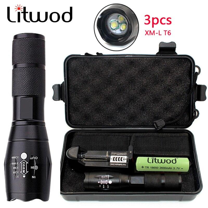 Litwod Z25 Power LED flashlight Tactical Flashlight Torch 3PCS XM-T6 Zoom 5 Modes Aluminum Lanterna Super BrIght Portable Light
