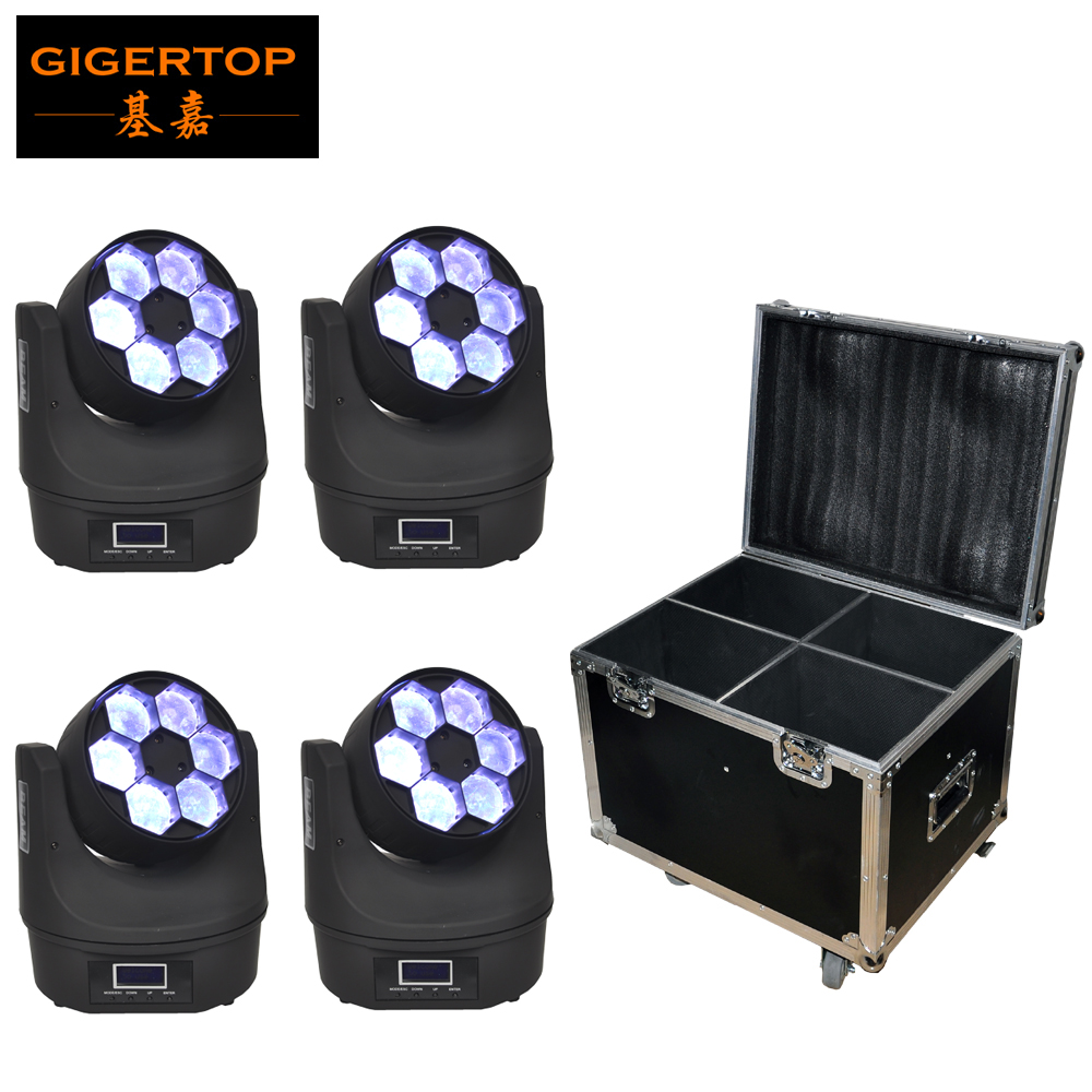 Flightcase 4XLot Small Bee-Eye Led Moving Head Light 6*15W O-S-R-A-M RGBW 4IN1 Color Mixing Mini  Led Moving Beam Light TIPTOP