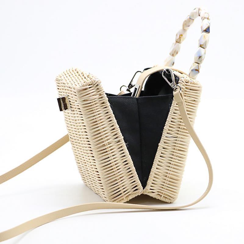 Women Rattan Bags Leather Buckle Straw Portable Bamboo Diagonal Beach Fashions