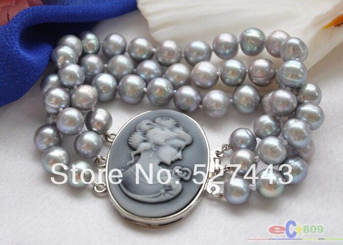 """Gros livraison gratuite > > P4055 3row 8 """" 10 mm rond gris perle d'eau douce BRACELET"""