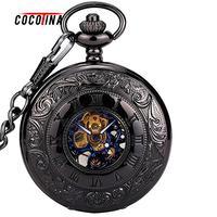 COCOTINA тонкий черный из нержавеющей стали унисекс Женские Механические карманные часы Hollowed крышки цепи роскошные Часы lsb01139