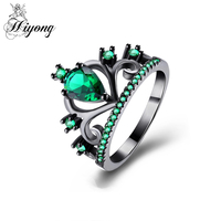 Princess Crown Ring Synthetic Birthstone Rings for Women Brass Water Drop Cut Green Stone Hollow Half Eternity Band HIYONG Anel