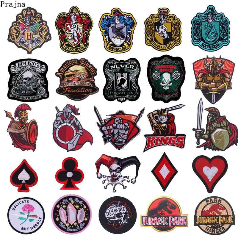 Prajna Embroidered Iron on Patches Greece Spartans Gladiator Patch Stickers For Clothing Ornament Logo Biker Jacket