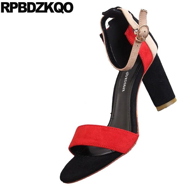 Grueso Correa Sandalias Mezclados Señoras Mujer Abiertos Bloquear verde Otoño Talones Zapatos Zapatillas Colores Alto Talón Tacón Oculto rojo Negro Diseñador Tobillo 2018 Verano Primavera De Ante Hembra XxZzqng