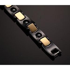 Image 4 - Vinterly 黒セラミックブレスレット女性チェーンリンク治癒エネルギー磁気ヘマタイトクリスタルゴールド色のブレスレット & バングル