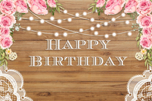 Laeacco Happy Birthday Flowers Wooden Board Light Photography Backgrounds Customized Photographic Backdrops for Photo Studio