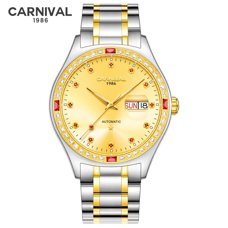 Carnival reloj hombre Luxury Automatic Watch Men Stainless Steel Gold Diamond Mens Mechanical Wristwatches Luminous Clock Saat