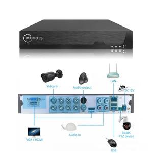 Камера видеонаблюдения Movols 5 МП, 8 каналов, H.265 DVR, 4 шт., 2592*1944, HD, инфракрасная камера безопасности для помещения и улицы, P2P