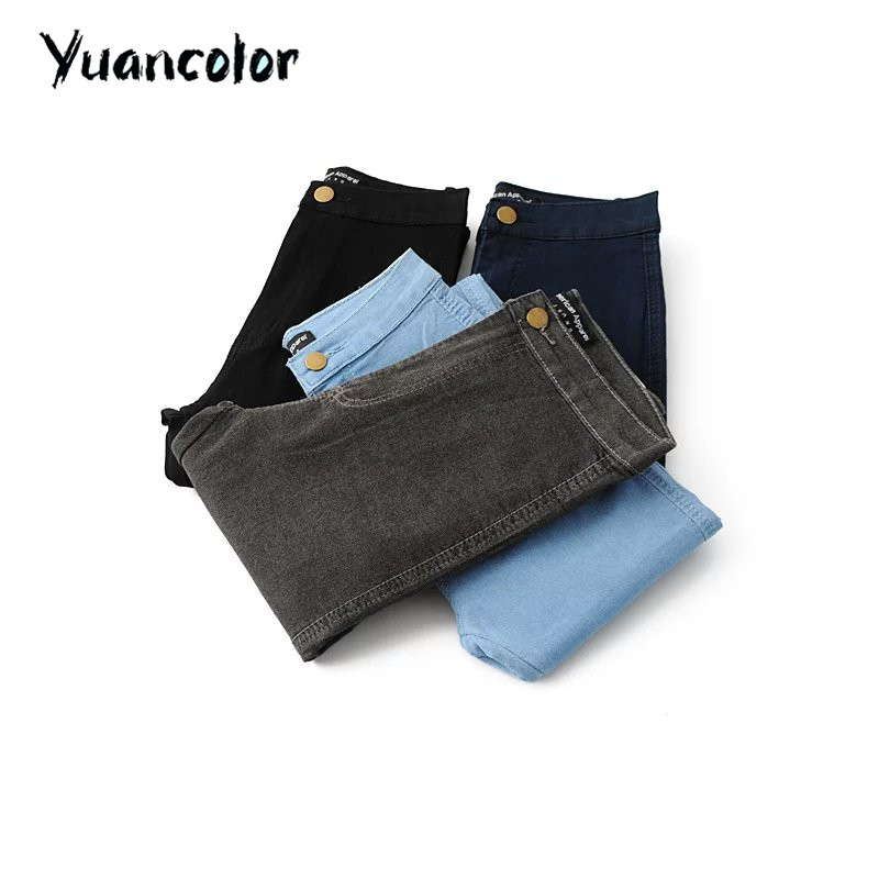 High Waist High Elastic Jeans Women Hot Sale American Style Skinny Pencil Denim Pants Trousers Fashion Vaqueros Mujer Black grey hanlu spring hot fashion ladies denim pants plus size ultra elastic women high waist jeans skinny jeans pencil pants trousers
