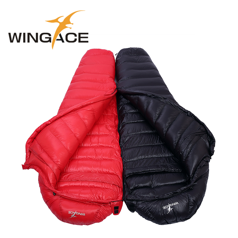 WINGACE Fill 400G 600G 800G 1000G 1200G Goose Down Sleeping Bag Winter Outdoor Ultralight Mummy Camping Sleeping bag Adult