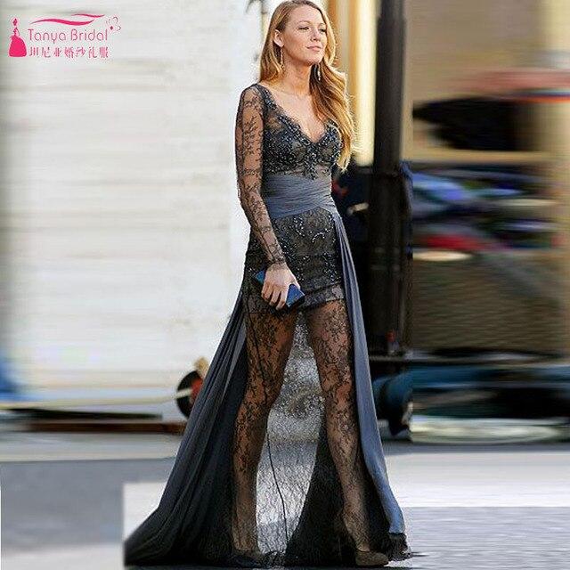 Langarm Abendkleider Blake Lively Grau Spitze Abendkleid gossip Girl ...