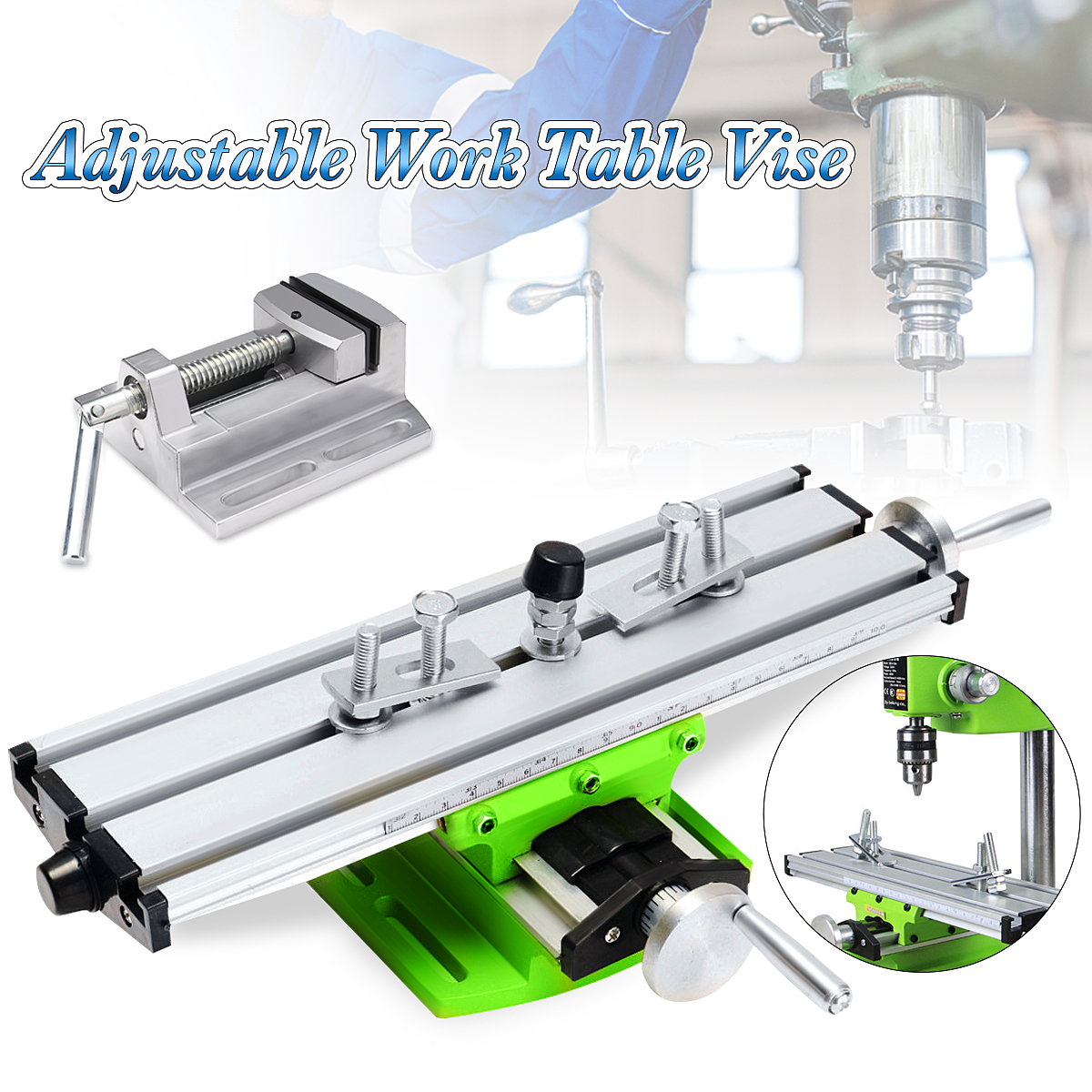Multifunction 2 Axis Milling Compound Working Table Cross Sliding Bench Drill Vise Fixture DIY Adjustment WorktableMultifunction 2 Axis Milling Compound Working Table Cross Sliding Bench Drill Vise Fixture DIY Adjustment Worktable