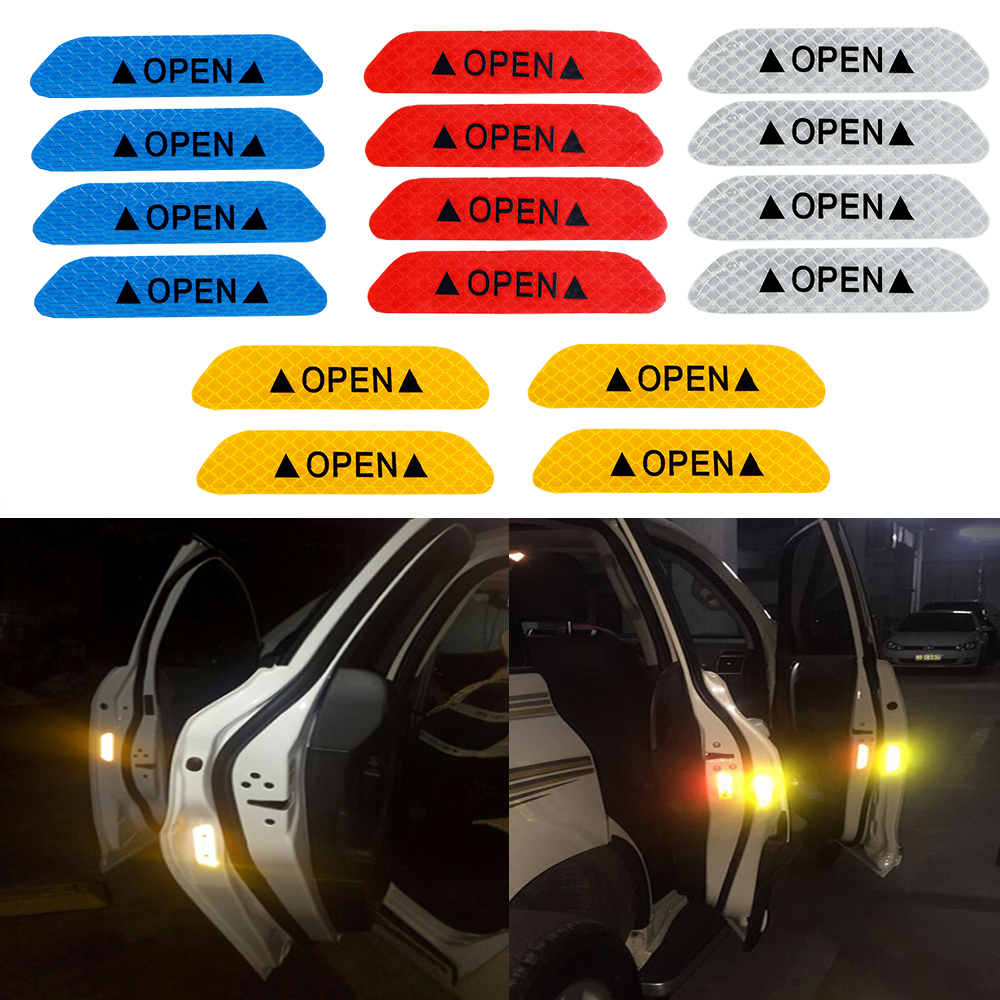 YOSOLO 4Pcs/set  Car Door Stickers Warning Mark OPEN Reflective Tape Reflective Strips Universal Car Interior Stickers