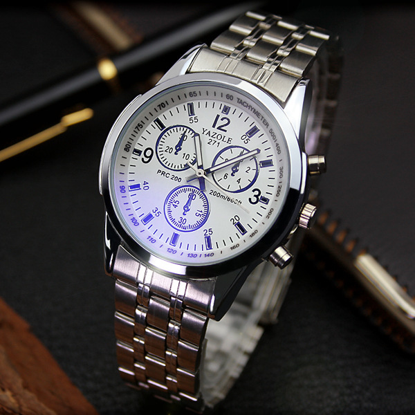 YAZOLE Full Steel White Black Blue Ray Dial 30m Waterproof Business Dress Sport Wrist watch Watches for Men Male OP001