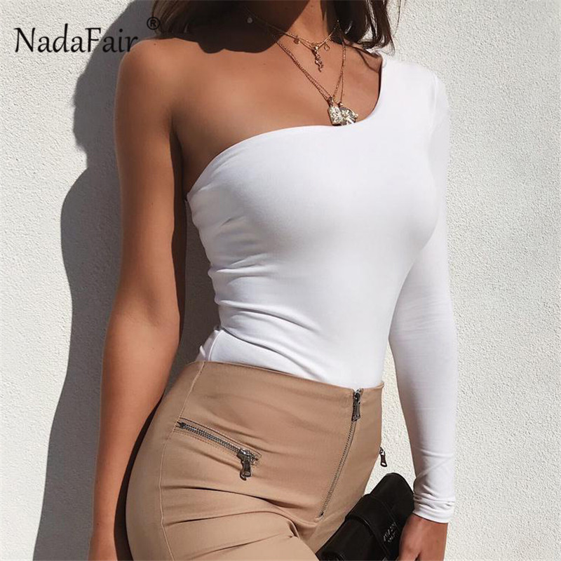 Nadafair one shoulder sexy bodysuits women long sleeve solid bodycon bodysuit women   rompers   2019 spring casual tops white black