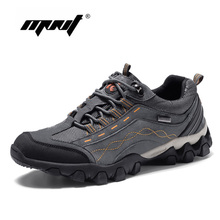 Купить с кэшбэком Genuine Leather Men Shoes Waterproof Fashion Sneakers Male Outdoor High Quality Lace-Up Hiking Casual Shoes Men