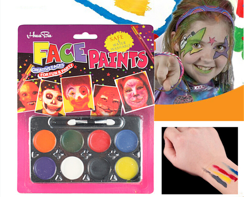 8 colors 1 set Halloween Body Face Painting Washable Safe Party Costume Makeup for Kids Children