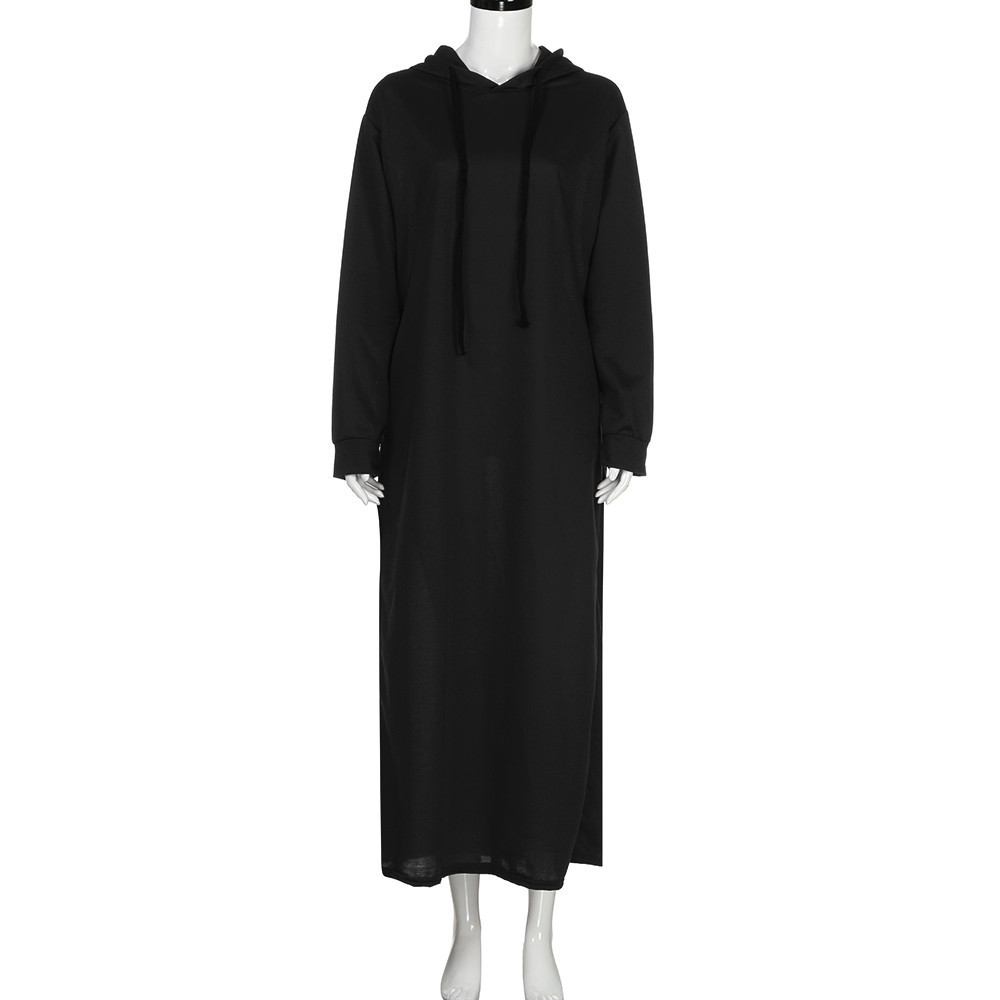 vestido de mujer Women Maxi Dress Long Sleeve Hooded Baggy Casual Hoodies Long Dresses Black femme