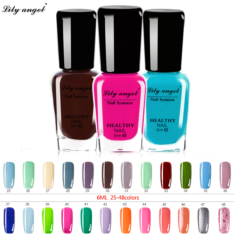 Lily angel 48 colors Colorful 6ml Nail polish Gel Paint Peel off Water Based Nails Art Glue Quick Drying Beauty Tools NO.25-48