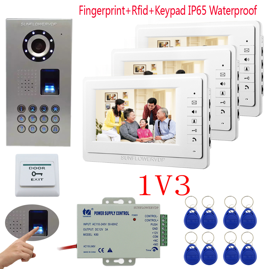 Sunflowervdp Fingerprint Video Door Entry Panel Videophone House 7 Inches For 3 Apartments With IP65 Waterproof  Video Calls