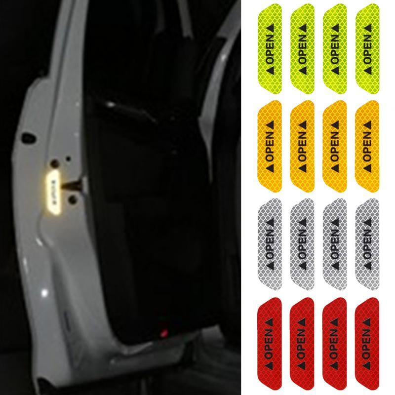 4Pcs Universal Safety Reflective Tape Open Sign Warning Mark Car Door Sticker