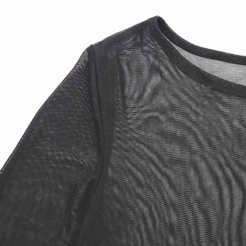 ZANZEA 2019 пикантные женское платье Slim Fit Transporant Strech Мини платья с длинным рукавом О средства ухода за кожей Шеи Vestidos S-2XL