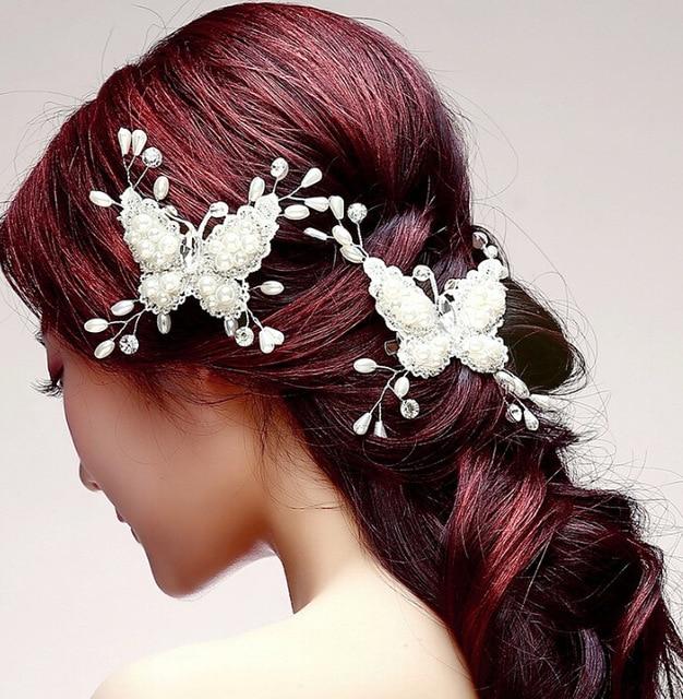 2pcs bridal headpiece handmade wedding jewelry butterfly flower