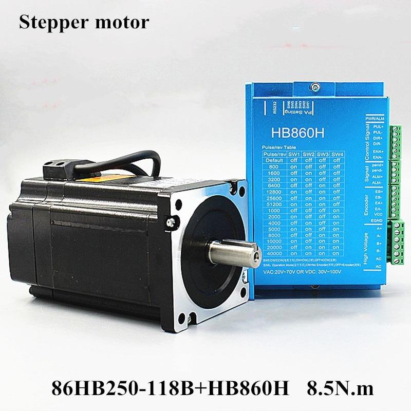 Nema servo motor 34 86HB250-118B + HB860H Closed-loop motor de passo Nema 8.5N.m 34 86 Hybird closed loop 2 -fase driver de motor de passo