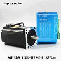 Motor servo Nema 34 86HB250-118B + HB860H motor de paso de bucle cerrado 8.5N.m Nema 34 86 Hybird bucle cerrado 2 -controlador de motor paso a paso