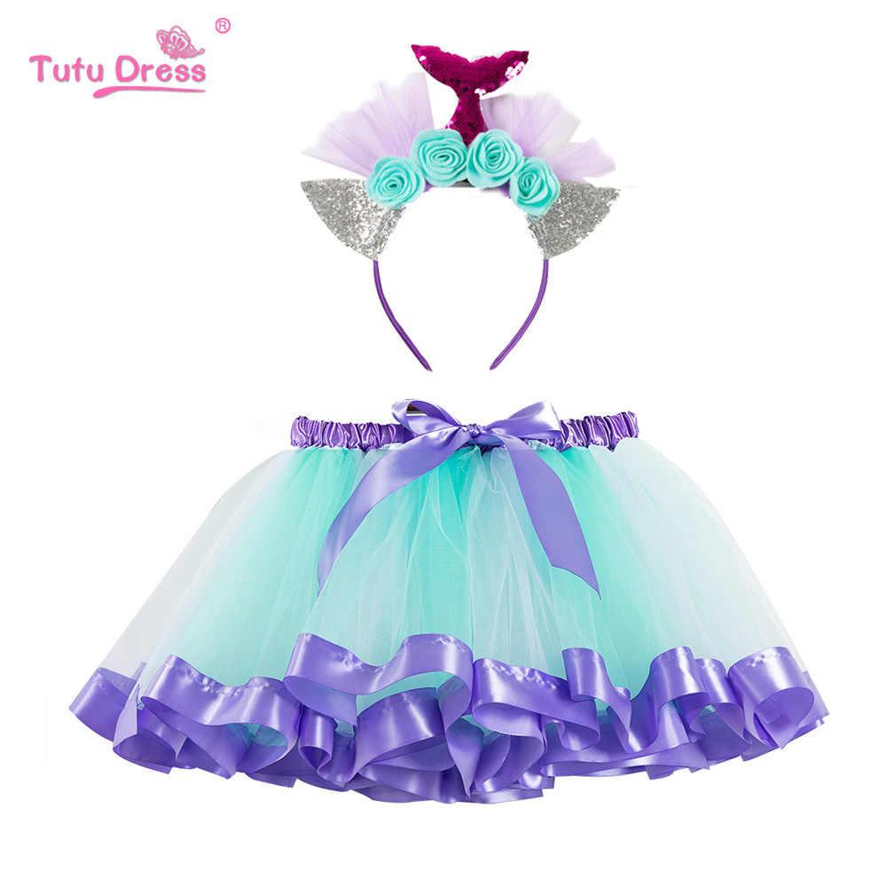 Falda arcoíris niñas niña ropa faldas esponjosas bebé princesa sirena diadema colorido Mini Pettiskirt niños vestido de baile