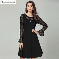 Autumn Lace Patchwork Dress Women Clothing Black fox Sequined Flare Full Sleeve Spring Dress Plus Size 5xl 4xl 3xl 2XL Xl L M