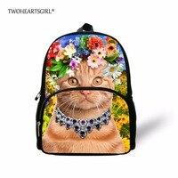 TWOHEARTSGIRL Drukowanie Słodkie Cat Plecak dla Małych Dziewczynek Kwiatów W Stylu Dziecka Przedszkole Plecak Bookbag Małe Maluch Dzieci Zoo