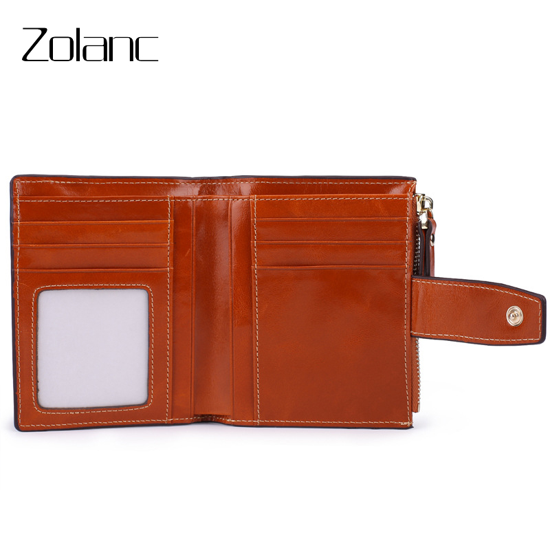 Zolanc Hot Sale RFID Genuine Leather Woman Wallet Short Vertical Section ZIP Wallet Coin Purse Women Zipper Purse